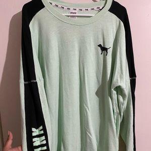 Mint Green / Black Victoria's Secret PINK Crewneck